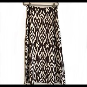 Chicos Ikat A-Line Skirt, SZ 1, Brown & White